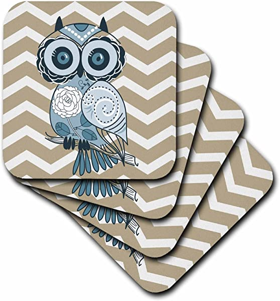 3dRose CST 162265 2 Blue Owl With Beige And White Chevron Soft Coasters Set Of 8