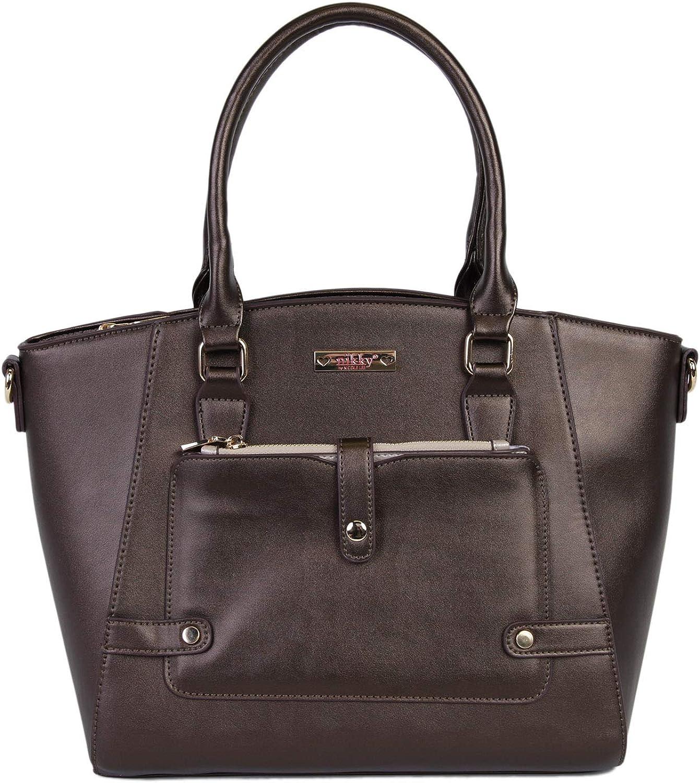 Nikky Solid Brown Fancy Spacious Fully Lined Women's Satchel Handbag Shoulder Bag Bronze One Size