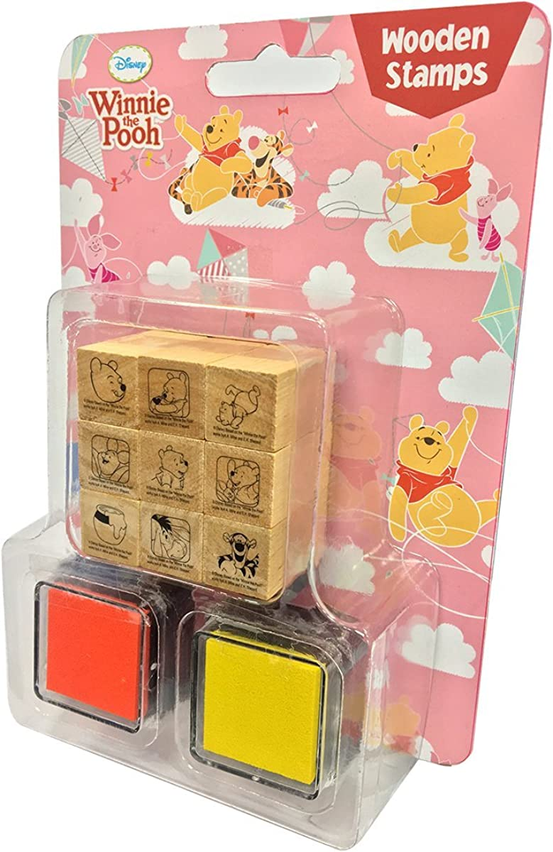 Disney Decorative Wooden Rubber Stamp and Ink Set 9pcs (Winnie The Pooh)