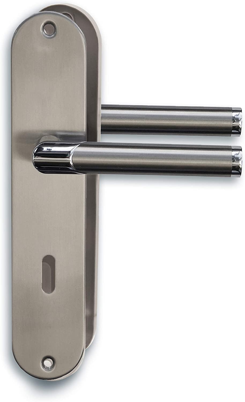 Alpertec 88028600C Solid 3-R Chrom//Edelstahlfarbig satiniert BB f/ür Zimmert/üren Dr/ückergarnitur T/ürdr/ücker T/ürbeschl/äge Neu