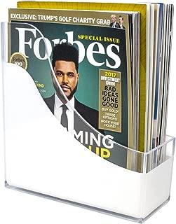Sorbus Magazine Holder File Organizer, Great for Desktop, Shelf, Home or Office, White Clear (Magazine/File Holder)