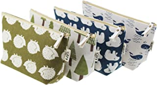 LJY 4 Pieces Assorted Large Capacity Forest and Animal Theme Linen Pen Holder Stationery Pencil Pouch Travelling Multi-functional Cosmetic Bags with Inner Pockets