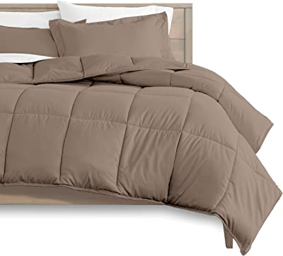 Anex Linen Taupe Oversized King Size 3 PC Duvet Cover with Comforter 100% Egyptian Cotton 600 TC Zipper & Corner Ties Quilt Cover with Extra Fluffy Baffle Box Comforter(3 PC Duvet Cover+Comforter)