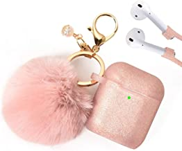 Filoto Airpods Case, Airpod Case Cover for Apple Airpods 2&1 Charging Case, Cute Air Pods Silicone Protective Accessories Cases/Keychain/Pompom/Strap, Best Gift for Girls and Women, Rose Gold