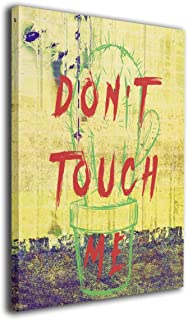 Hobson Reginald Canvas Wall Art Prints Cactus Don't Touch Me Plant Funny -Photo Paintings Contemporary Decorative Giclee Artwork Wall Decor-Wood Frame Gallery Wrapped 16