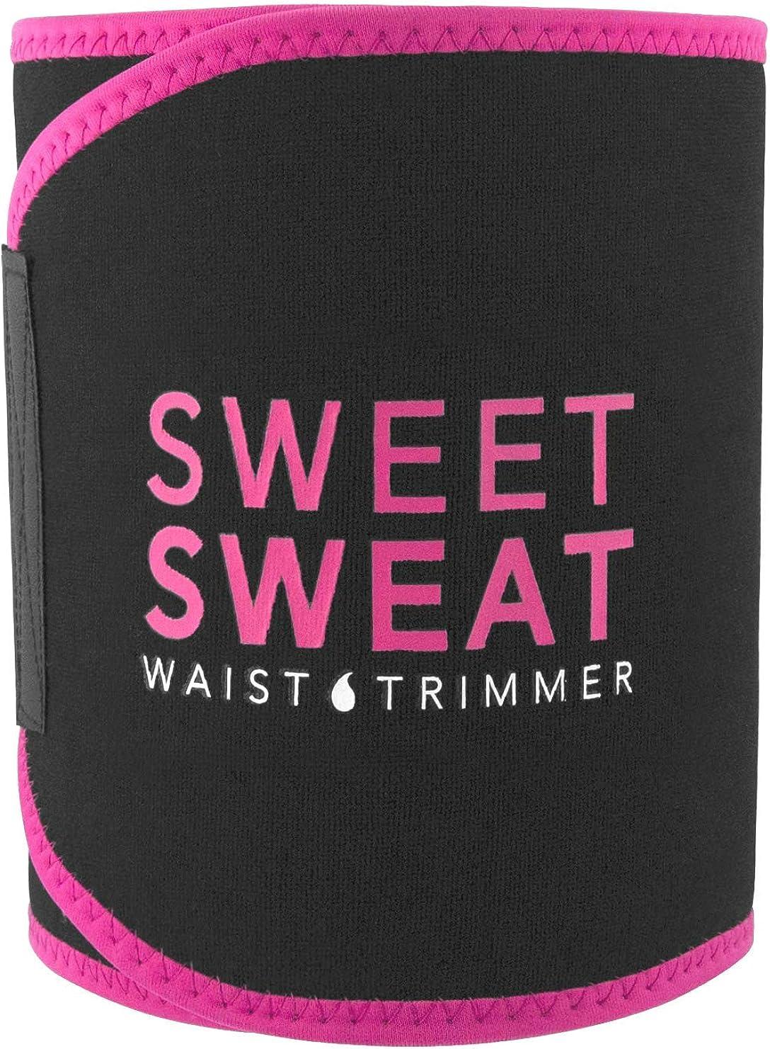 Sweet Sweat Waist Trimmer for Men & Women Black/Pink   Premium Waist Trainer Sauna Suit, Includes Sample of Sweet Sweat Gel!