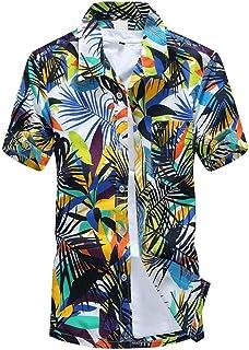 dc1abb2e85e Camisas Hombre Flores 2019 Moda SHOBDW Playa de Verano Impresión Hawaiana  Casual Blusa Slim Fit Tops