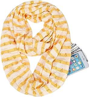 GERINLY Hollow Zip Pocket Scarf for Women Stripe Storage Infinity Loop Circle Scarf