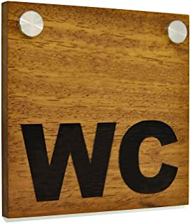 Panneau directionnel de toilettes d'hôtel - Iroko en bois massif gravé (teck africain) et acrylique - Panneau de toilette ...