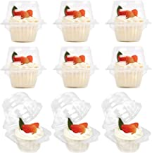 LotFancy 50 Pcs Plastic Individual Cupcake Containers, Disposable Cupcake Holders with Lid, Clear Cupcake Boxes, Single Compartment Muffin Carrier for Wedding, Party, Standard Size