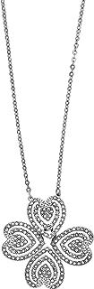 Carol 5186136 Lucky Four Leaf Clover Heart Rhodium Plated Necklace