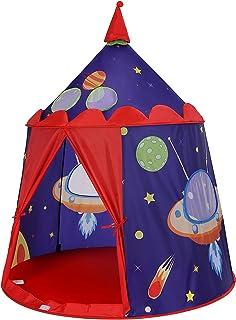 SONGMICS lektält, prinsens slottält för pojkbarn, lekstuga för inne och ute, bärbart pop-up indiskt tält tipi med väska, g...