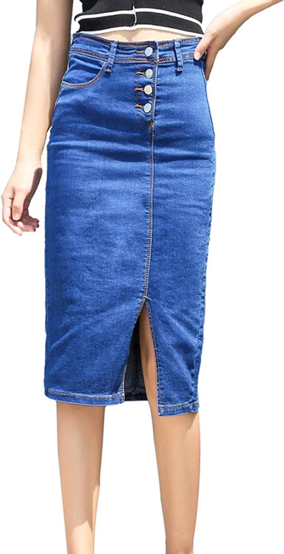 CHARTOU Women's Slim Fit High Waist Button Split Package Hip Denim Jean Midi Pencil Skirt