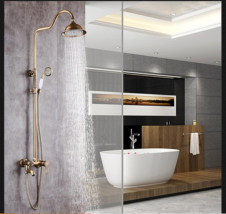SHUAI Shower Set Bathroom Shower Set Copper Antique European Style Lift Faucet Hand Shower Set