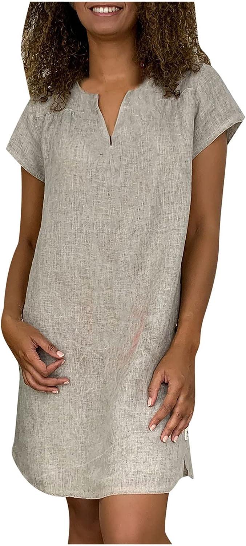 Women Summer Cotton Linen Straight Mini Dress V-Neck Light Weight Casual Dress Solid Print Short Sleeve Loose Dress