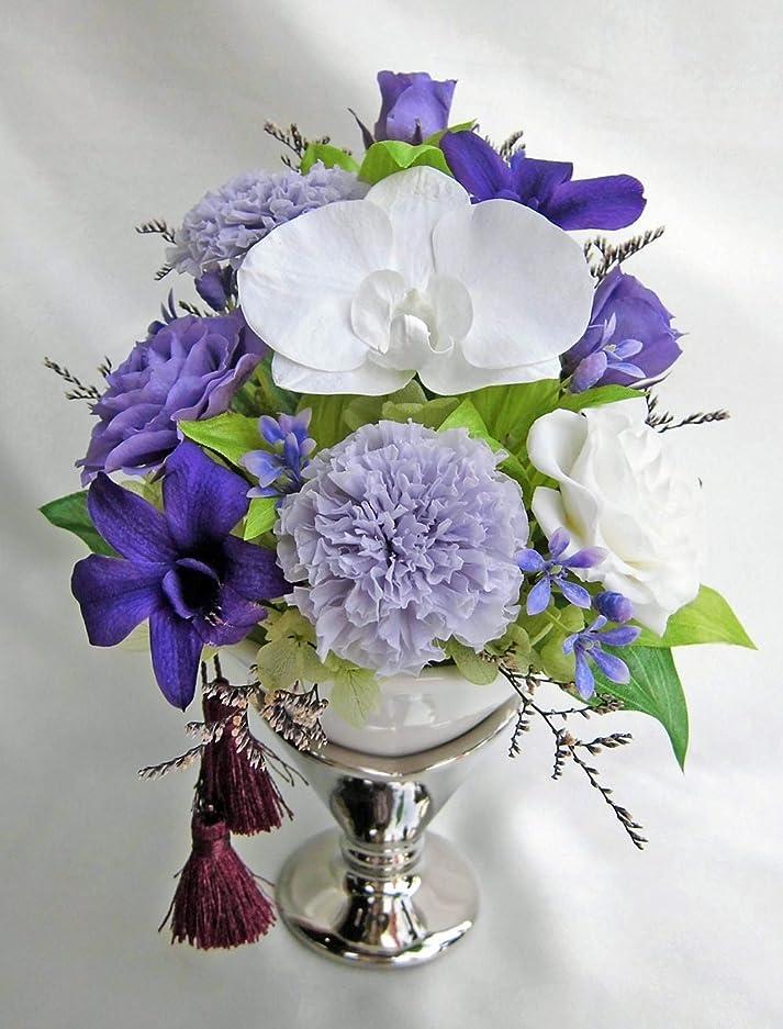 ループ遺体安置所広告仏花 ケース入 紫色の偲おもい お仏壇 お供え 胡蝶蘭 マリーゴールド デンファレ バラ アレンジ