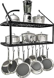 Support De Pot De Cuisine Monté Sur Support Suspendu Pour Rangement Et Organisation De Cuisine - Étagère Murale À 2 Niveau...