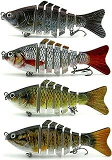 Apusale Fishing Bass Lure Multi Jointed Lifelike Trout Swimbait Hard Crankbait Treble Hooks