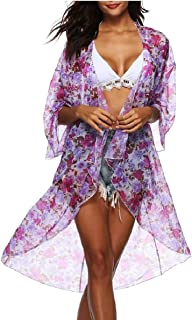 omniscient Women's 3/4 Sleeve Beachwear Swimsuit Bikini Long Kimono Cardigan Summer Cover up