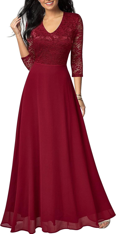 FORTRIC Women Floral Lace Chiffon Wedding Party Bridsmaid Chiffon Maxi Dress