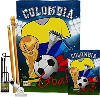 Ornament Collection FK192090-BO World Cup Colombia Soccer Interests Sports Decorative Vertical Flags Kit, House & Garden Set w/Flagpole, Multi-Color