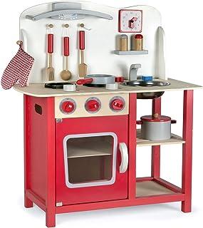 comprar comparacion Leomark Cocina Madera Infantil De Juguete - color Classic Roja -Accesorios: Reloj, Grifo y Fregadero, Cubiertos, Utensilio...