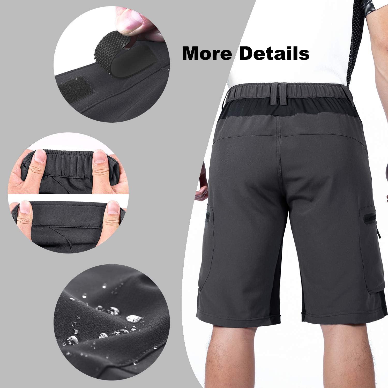 Hiauspor Mens-Outdoor-Hiking-Shorts MTB Mountain Bike Short Quick Dry Lightweight Cargo Pants with Zipper Pockets