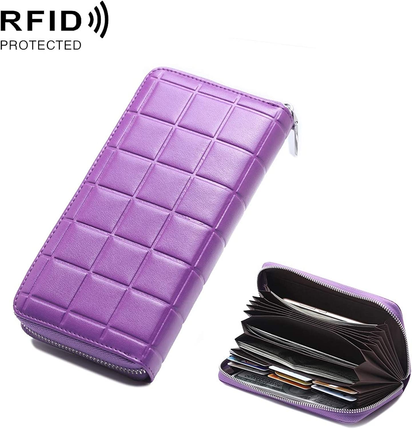 Professional Bag Antimagnetic RFID Female Large Capacity Casual Square Organ Card Bag Wallet Clutch Bag 903 Outdoor Travel Essentials (color   Purple)