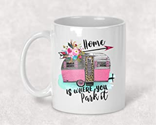 Home is Where you Park it Pink Leopard Camping Vintage Camper Floral Watercolor Mug Coffee Cup