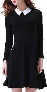 Women's Long Sleeve Casual Fit Flare Peter Pan Collar Dress