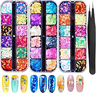 3 Boxes Nail Glitter Sequins 3D Nail Art Decorations Manicure Tips Supplies Chunky Colorful Iridescent Flakes Nails DIY Mixed Mermaid Paillette Design Sticker Face Nail Art Decals(Free tweezers 1pcs)