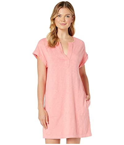 Mod-o-doc Heavier Slub Notch Neck Dress with Gauze Placket (Watermelon) Women