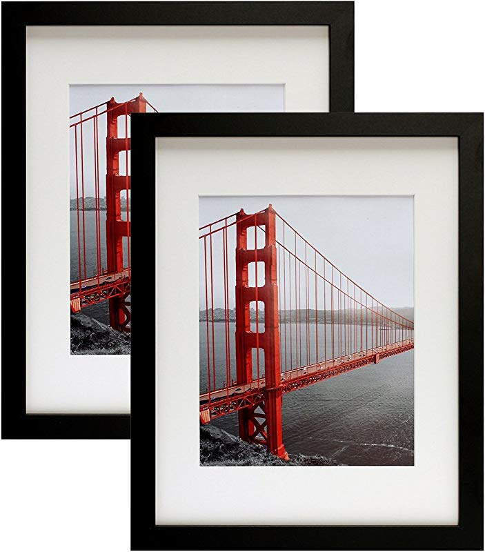 Frametory Two 11x14 Contemporary Black Picture Frames Wide Molding Wall Mounting Ready 2 Pc 11x14