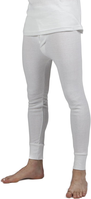 Mens Thermal Underwear Long Johns (British Made) (Waist: 40-42inch (X-Large)) (White)