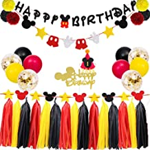 TownLights Birthday Decorations Mickey Mouse Kit,Birthday Party Supplies,Birthday Banner and Garland,Mickey Mouse Hat and Cake Topper For Baby Shower Girl Boy Birthday Red Black and Yellow Party Decoration