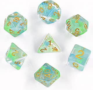 HDdais Polyhedral 7-Die Dice D D Dice Set Great for Dungeons and Dragons Tabletop, Roleyplaying & DND Games, Math & MTG