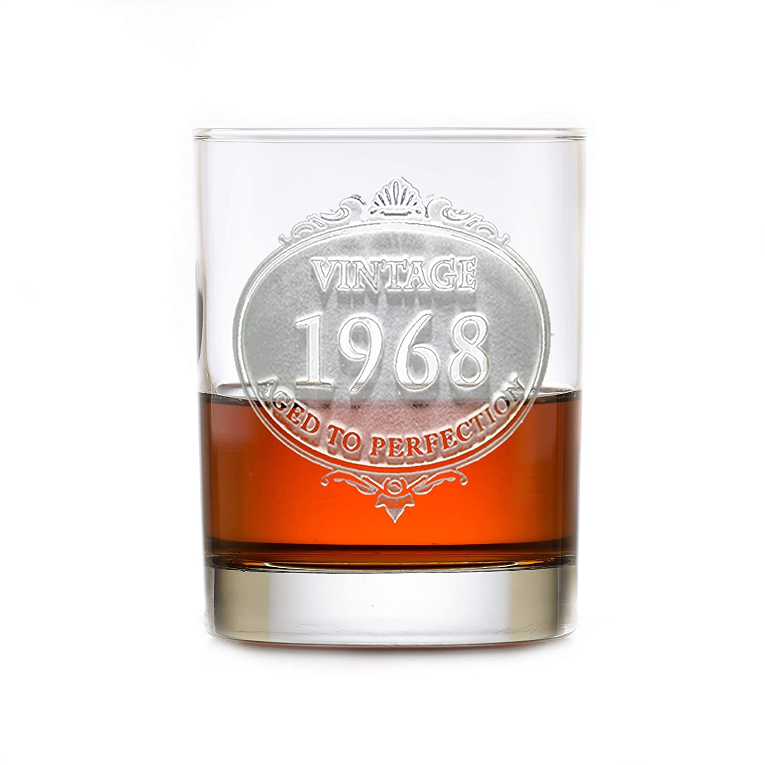 Super popular specialty store Vintage Year National uniform free shipping Engraved Bourbon Glasses 2 Of Set