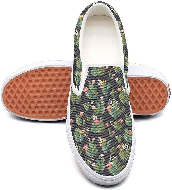 Sernfinjdr Women's Cactus Figure Plants Succulents Fashion Casual Canvas Slip on shoes Classic Running Sneaker shoes