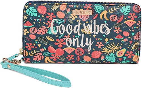 Good Vibes Embroidered Wallet Large Wallet for Women Zipper Coin Purse All Round Zip Closure Printed Design Card Holder Organizer Long Purse Clutch Wristlet for Girls Size 4 3 x7 5