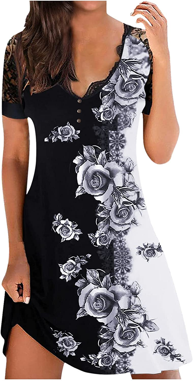 Dress to Hide Tummy, Women's Sexy V-Neck Lace Stitch Short Sleeve Butterfly Mini Dress for Summer