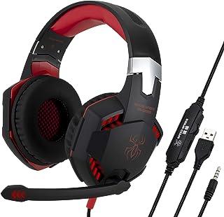 【ATOM】ゲーミングヘッドホン ヘッドセット PS4 LEDライト付き 超軽量 高音質 ノイズキャンセリング ステレオベースサラウンド 耳に優しい FPS ゲーム用 PC用 3.5mmジャック Gaming Headset PS4/Xbox One/PC対応(PS4にマイク使用は別売り変換アダプタ必要) (02 レッド)