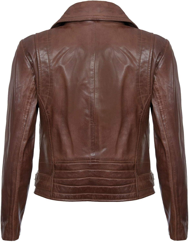 Infinity Leather Damen Aus Echtem Leder Mit Schwarzer Motorradfahrer Mode Und Reißverschluss Braun
