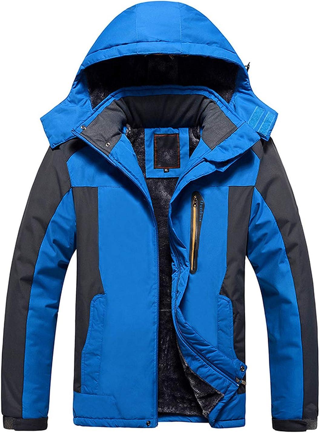 Uaneo Men's Casual Detachable Hood Fleece Lined Outdoor Mountain Hiking Jackets(Blue-XS)