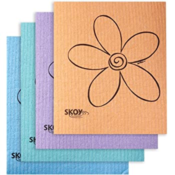 Skoy Cloth - 4 Pack - Eco-Friendly Swedish Dishcloth - Assorted Colors