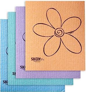 Skoy Cloth - 4 Pack - Eco-Friendly Swedish Dishcloth - Assorted Colors (pink, blue, yellow, orange, gray, purple, apple gr...