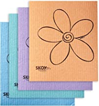 Skoy Cloth - 4 Pack - Eco-Friendly Swedish Dishcloth - Assorted Colors (pink, blue, yellow, orange, gray, purple, apple green and teal)