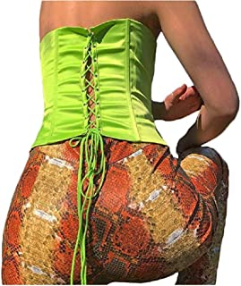 C.C-US Women's Criss Cross Lace Up Tank Top Sexy Slim Bandeau Bralette Crop Top