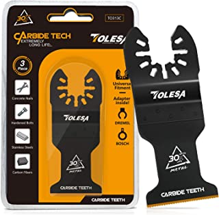 TOLESA Oscillating Multitool Blade Carbide Saw Blades for Hard Material/Metal/Nails/Bolts/Screws, 3-Pack