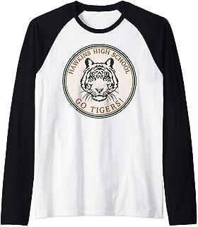 Netflix Stranger Things Hawkins High School Go Tigers Logo Manche Raglan