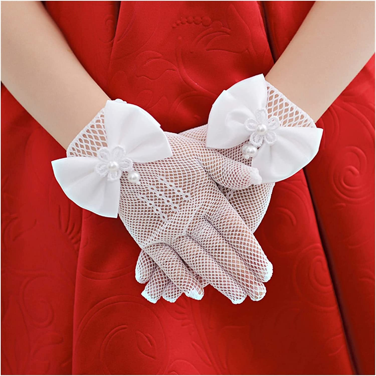 DMYONGLIAN Lace Gloves Kids Lace Pearl Mesh Bow Gloves Girl Party Supplies Birthday Ceremony Coronation Accessories for Gilrs Princess Gift Mittens Accessories